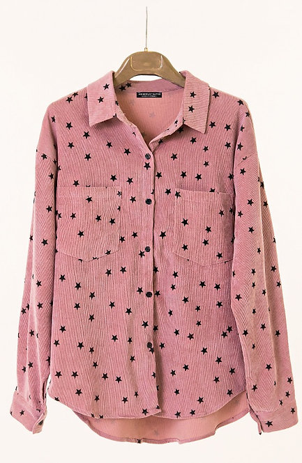 Star rib blouse oud-roze