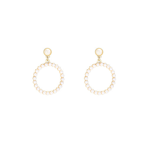 Circle pearl - oorbellen met parels in goud