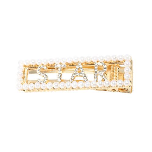 Star with pearls- haarclip met parels in goud