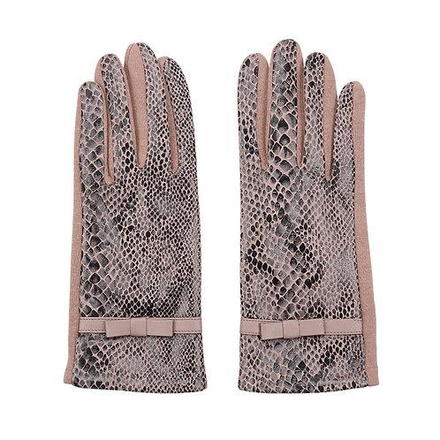 Miss wild - gloves in brown/black snakeskin