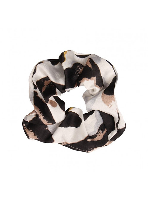Satin leopard scrunchie in wit