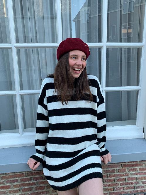 Marshmallow swirl - gestreepte trui (sweaterdress) in zwart-wit