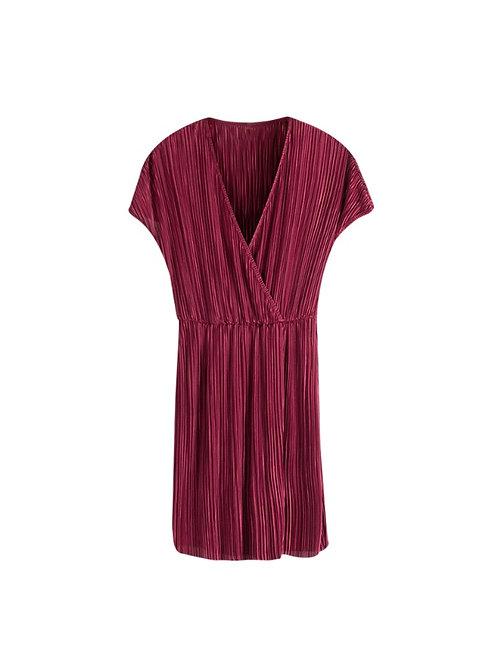 LADY LIKE - plissé jurkje in zwart/rood