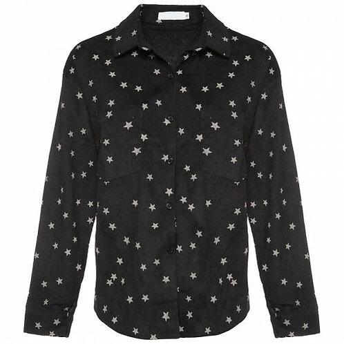 Star rib blouse zwart