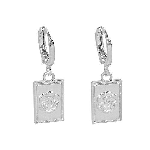 Flower earrings in gold/silver