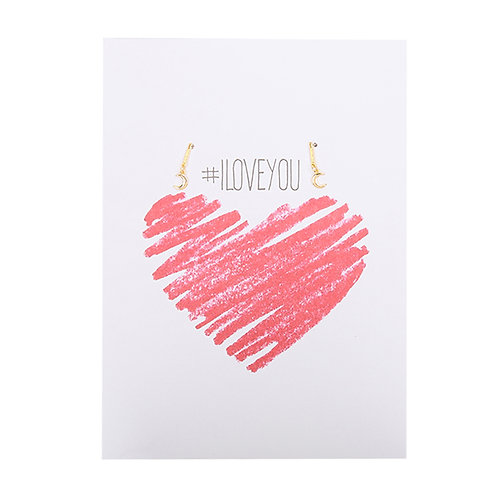#I LOVE YOU - sieradenkaartje hartje met sieraad
