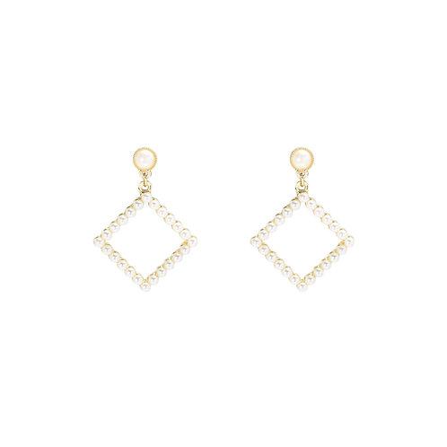 Diamond pearl - oorbellen met parels in goud