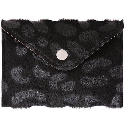 Furry spots - portemonnee in zwarte leopard print