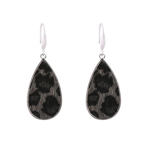 Leopard drop earrings in black/grey/brown/red