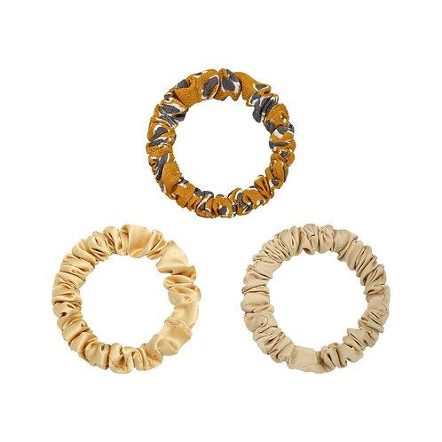 Set van 3 kleine scrunchies - goud, beige, leopard