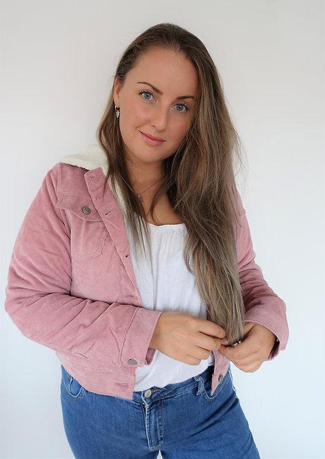 Corduroy fake fur trucker jacket in roze