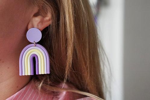 Nova - statement regenboog oorbellen in paars
