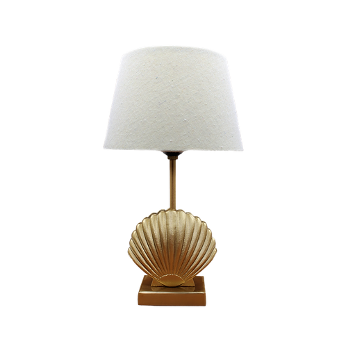 Shell lamp + linen shade (wit)