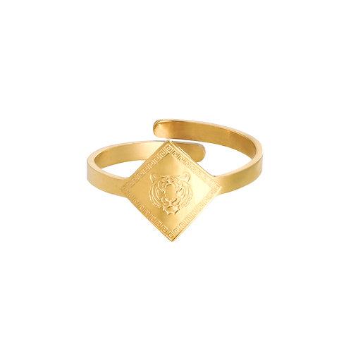 Fierce tiger - ring in RVS goud/zilver