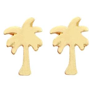 Palmtree earstuds in gold/silver