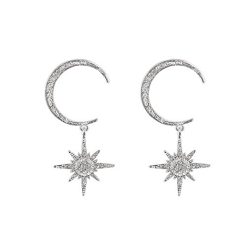 Sparkle all night - crescent oorbellen in zilver/goud