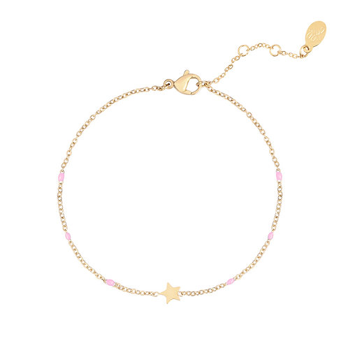Star beads - armband in RVS zilver/goud