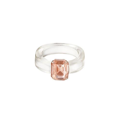 Plastic ring met steen
