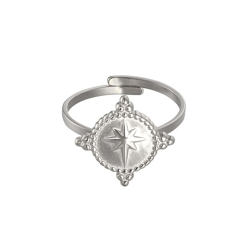Northern star - ring in RVS silver/gold