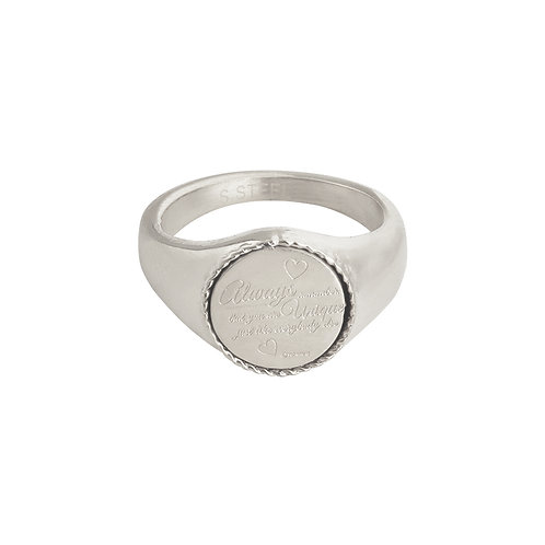 Always remember - ring met quote in RVS goud/zilver