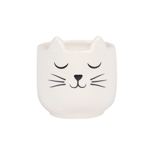Sleepy cat - white planter