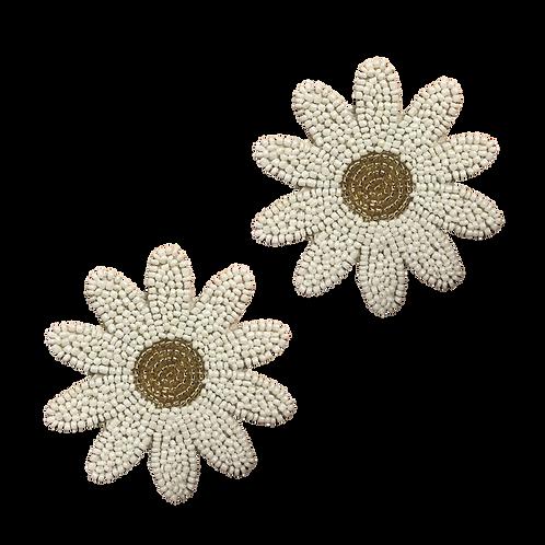 Beaded coaster daisy shape (set van 2)