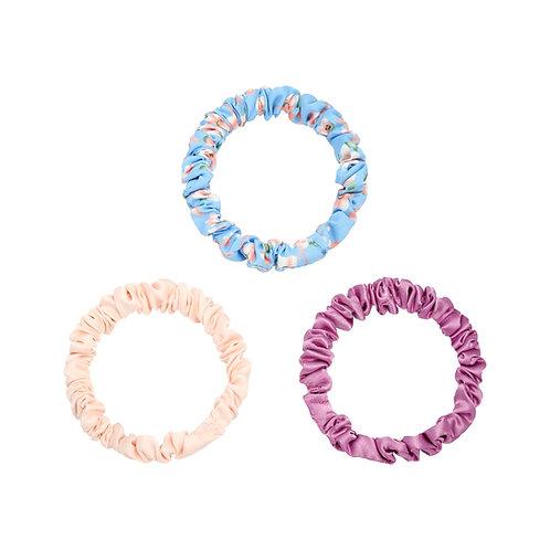 Set van 3 kleine scrunchies - paars, lichtroze, blauwe bloemen