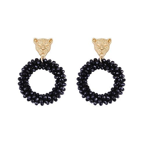 Kitty cat - earrings in gold & black