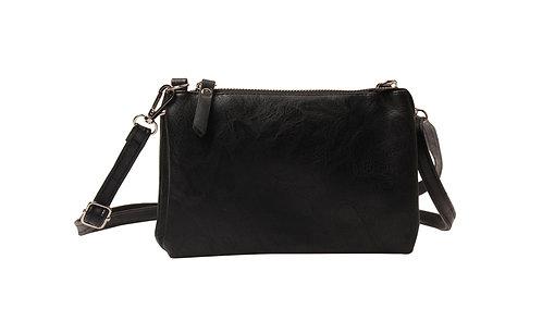 Handtasje in zwart/okergeel/lichtgroen