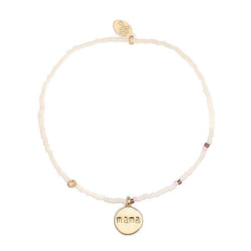Mama - kralenarmband in goud (wit en roze)