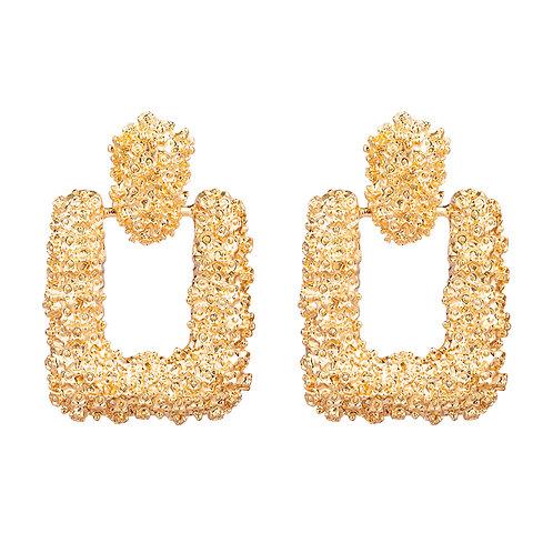 Square rocks - oorbellen in zilver/goud