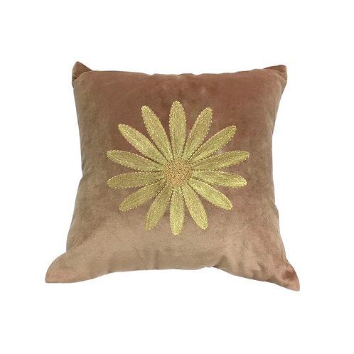 Velvet cushion embroidered daisy