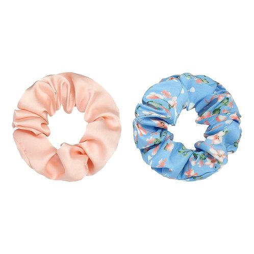 Scrunchie set van 2 - satin roze, blauw bloemen