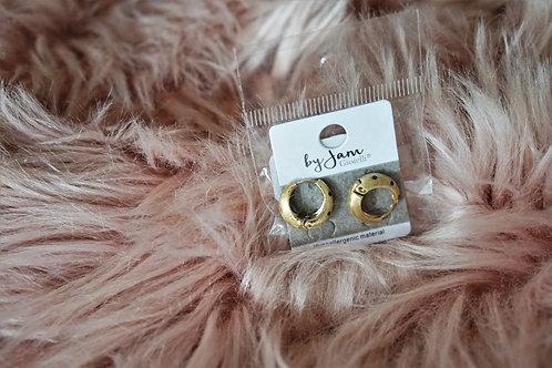 Vintage dots - oorbellen in RVS goud