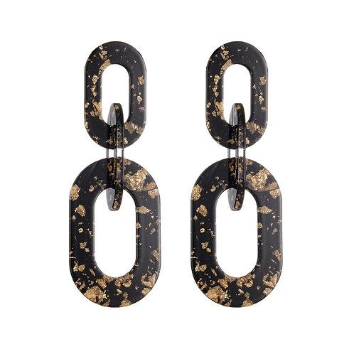 Glam babe - oorbellen in zwart en goud