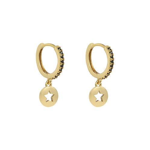 Shiny star - oorbellen in zilver/goud