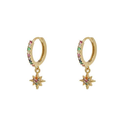 Zirconia star - oorbellen in zilver/goud