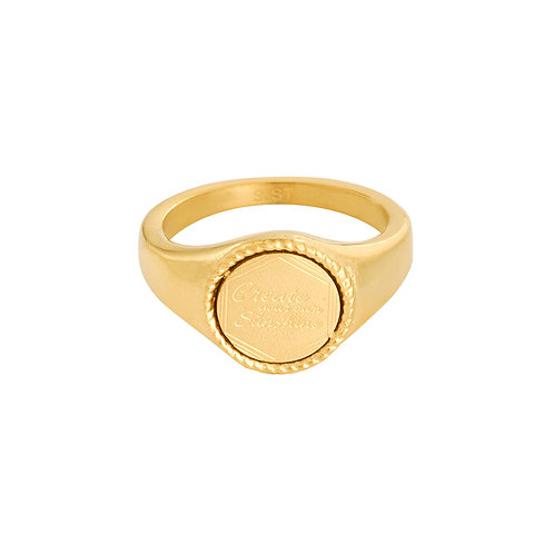 Create your own sunshine - ring met quote in RVS goud