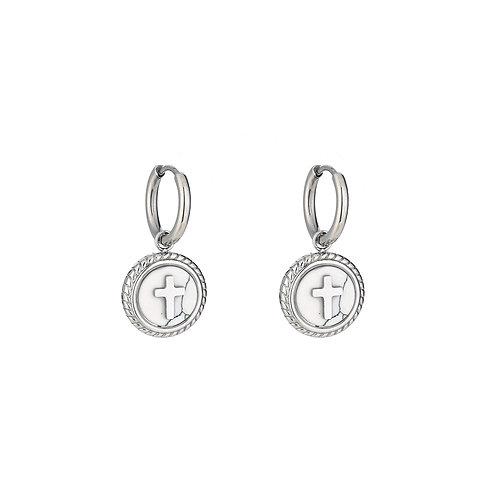 White cross - oorbellen in RVS zilver/goud