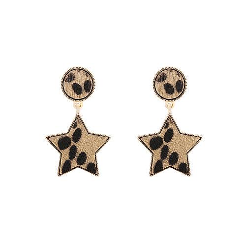 Fur star - earrings in leopard gold