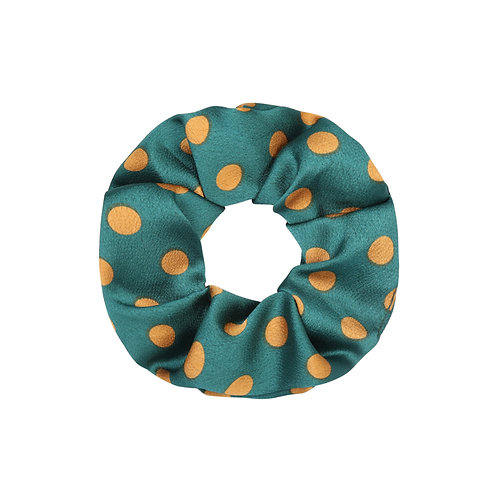 Satin dots scrunchie in groen-geel