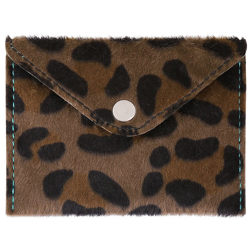 Furry spots - portemonnee in bruine leopard print