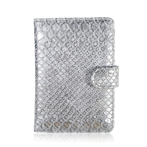 Passport case silver croco