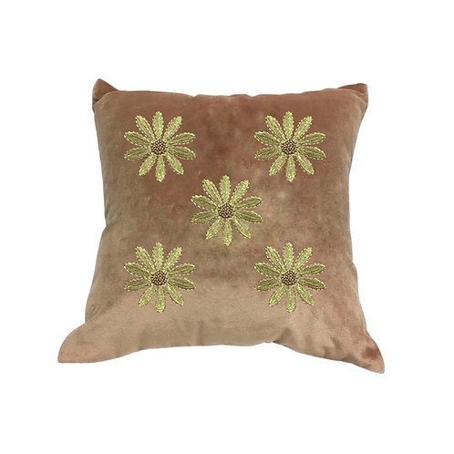 Velvet cushion five daisies