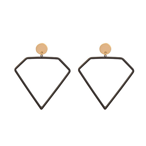 Diamond earrings in black/gold
