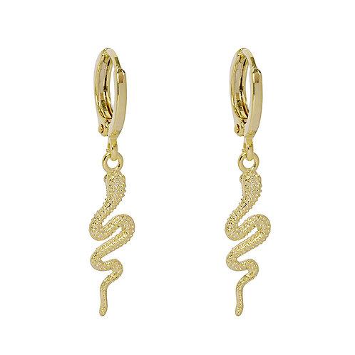 Snake oorbellen in zilver/goud