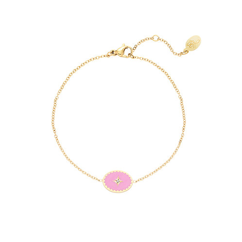 Lollipop - bracelet in RVS gold-pink