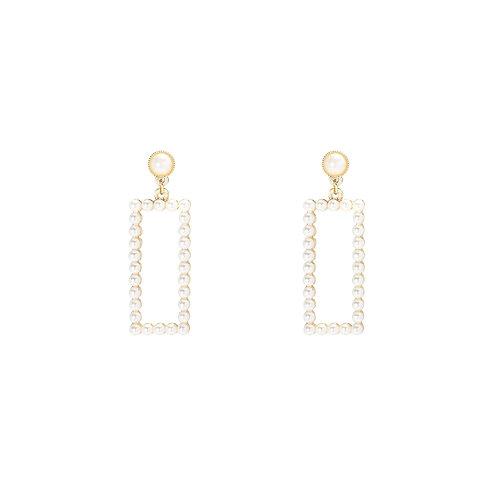 Rectangle pearl - oorbellen met parels in goud