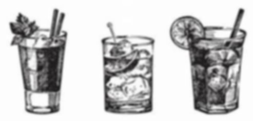 Three tumbler glasses of different drinks