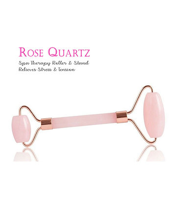 水晶臉部按摩滾輪 Rose Quartz Spa Therapy Roller & Stand